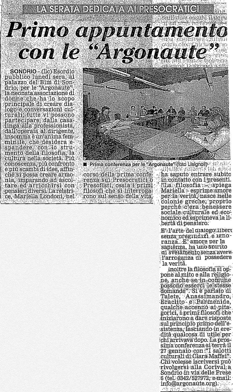 2005-01-17 Primo appuntamento con le Argonaute