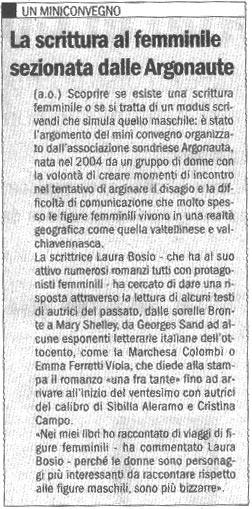 2005-05-11 La scrittura al femminile sezionata dalle Argonaute