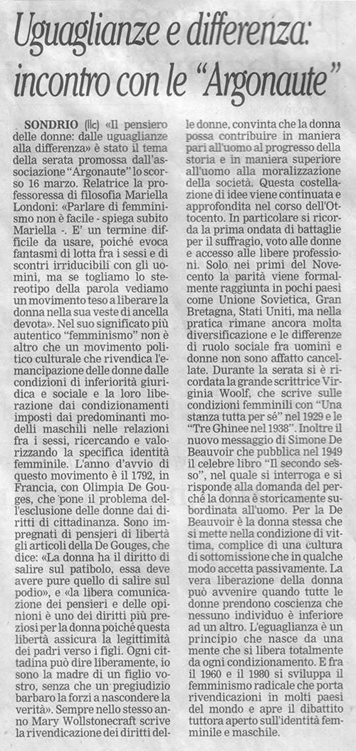 """2006-03-16 Uguaglianze e differenza: incontro con le """"Argonaute"""""""