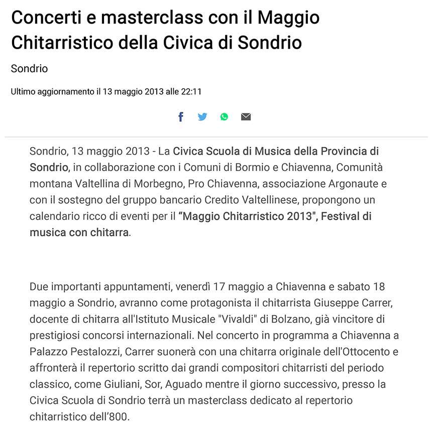 2013-05-13 Concerti e masterclass con il Maggio Chitarristico della Civica di Sondrio