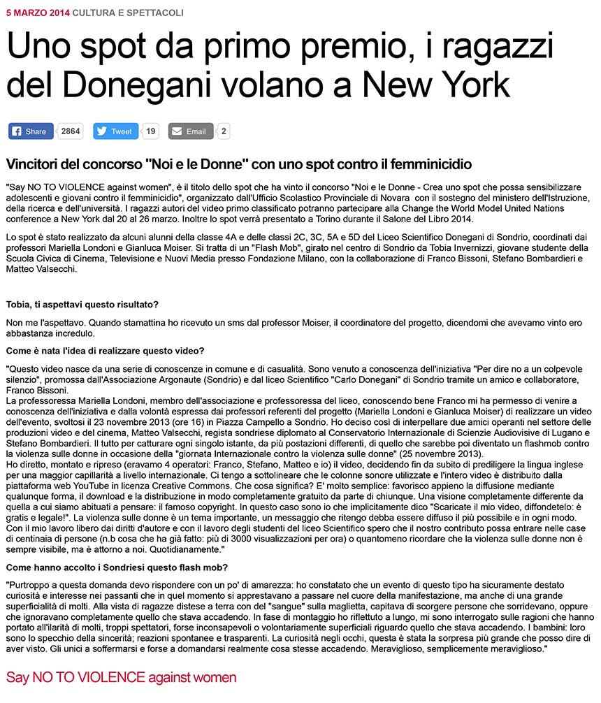 2014-05-03 Violenza contro le donne, il video del liceo Donegani vince e vola all'Onu a New York