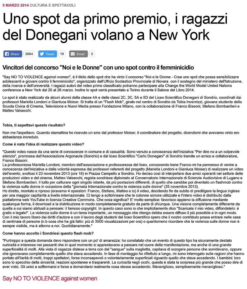 2014-05-03 Uno spot da primo premio, i ragazzi del Donegani volano a New York