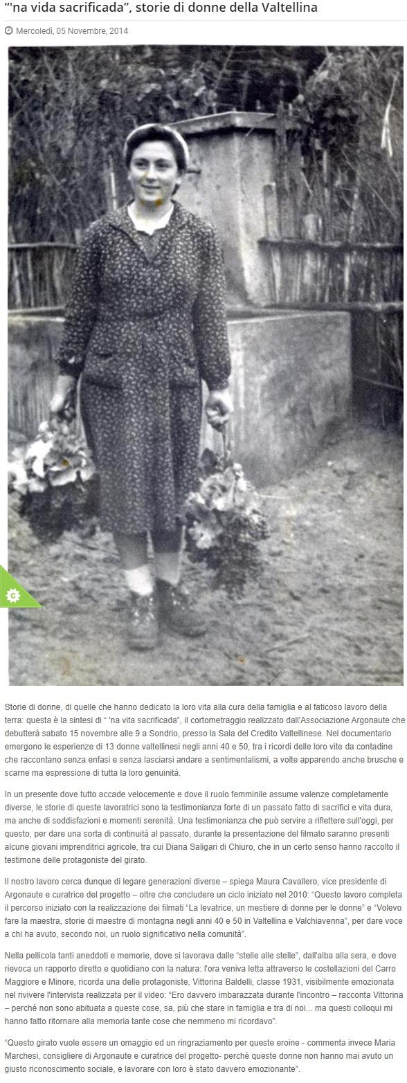 2014-11-05 'na vida sacrificada, storie di donne della Valtellina