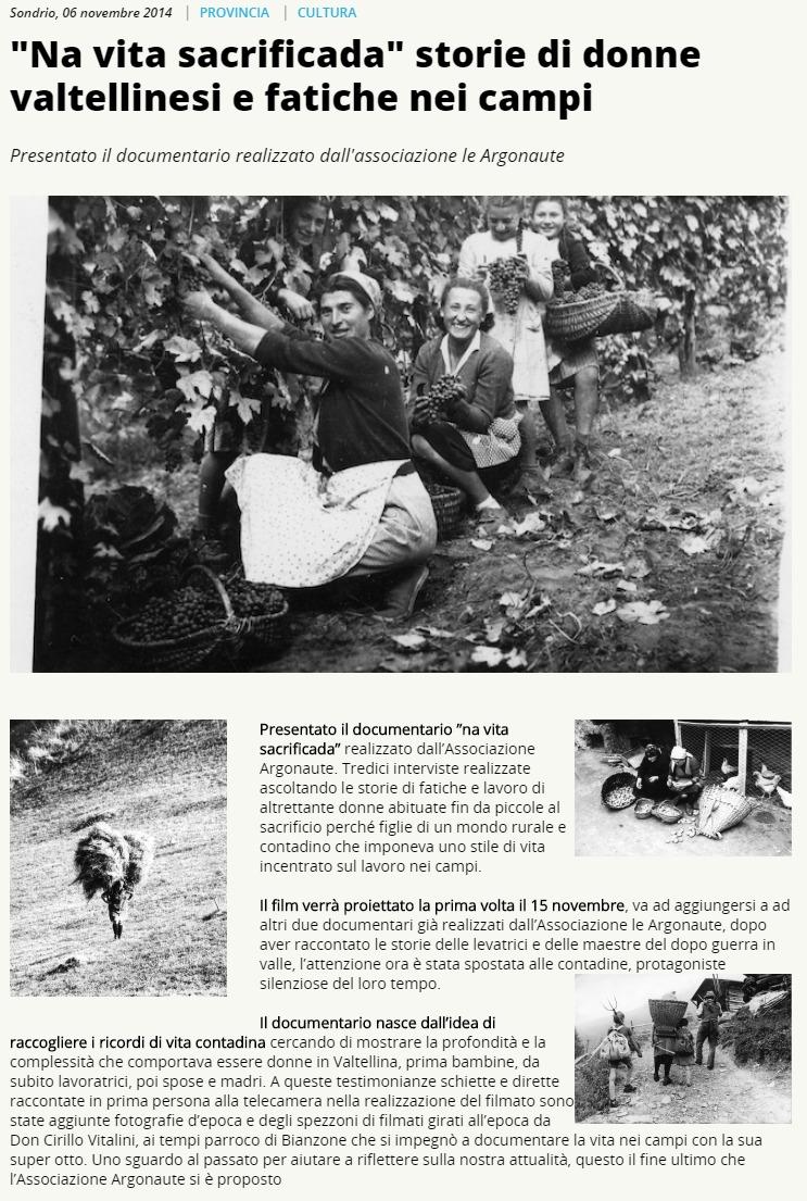 "2014-11-06 ""Na vita sacrificada"" storie di donne valtellinesi e fatiche nei campi"
