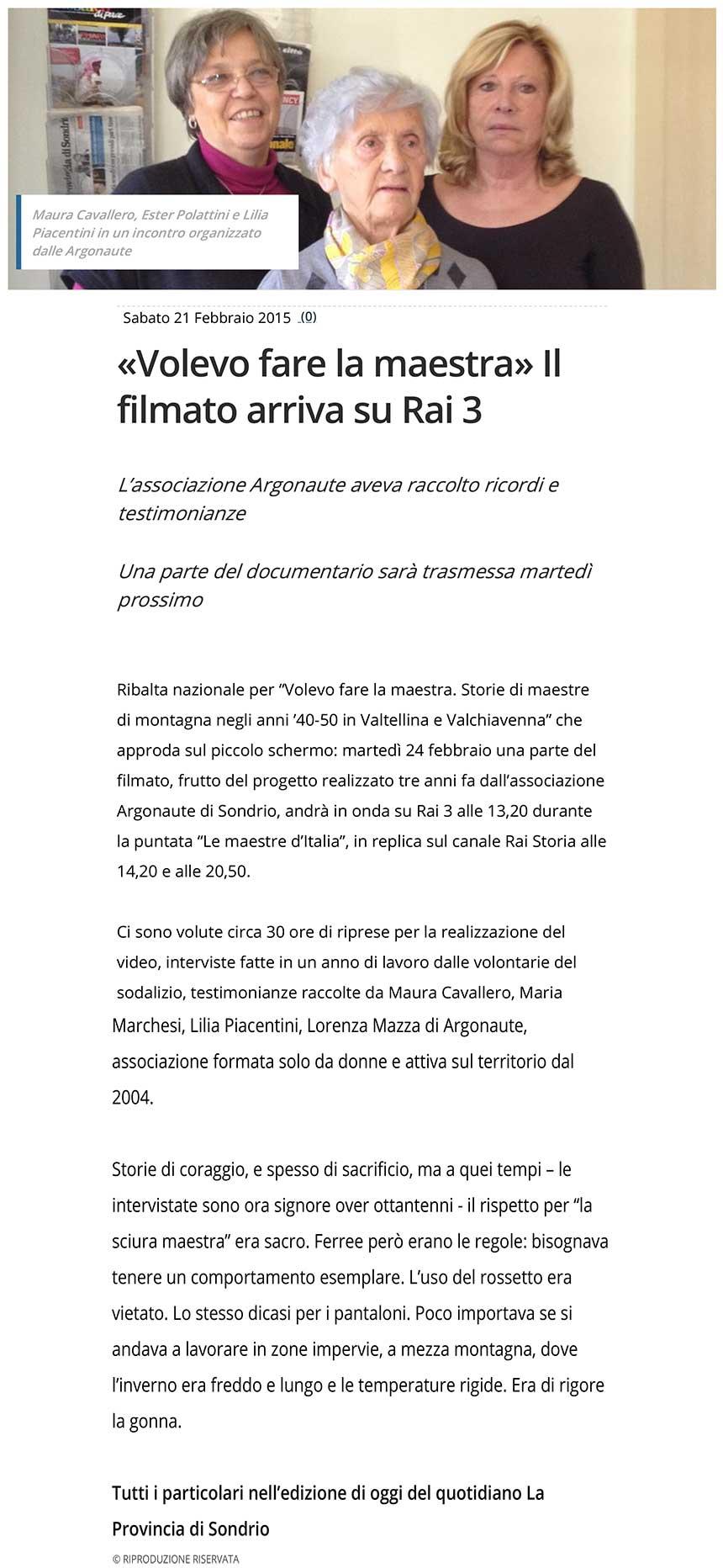 """2015-02-21 """"Volevo fare la maestra"""" Il filmato arriva su Rai 3"""
