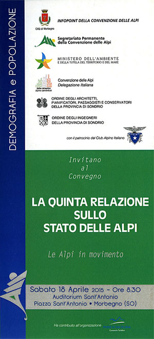 La quinta relazione sullo stato delle Alpi Brochure Fronte