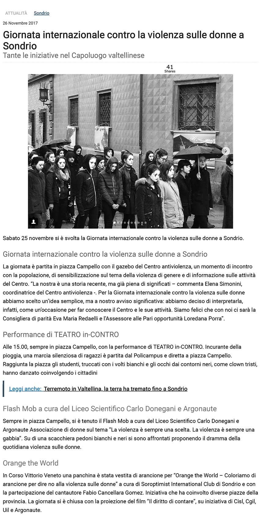 Giornata internazionale contro la violenza sulle donne a Sondrio