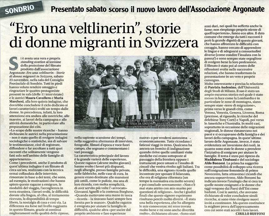 """2019-11-23 """"Ero una Veltlinerin"""", storie di donne migranti in Svizzera"""