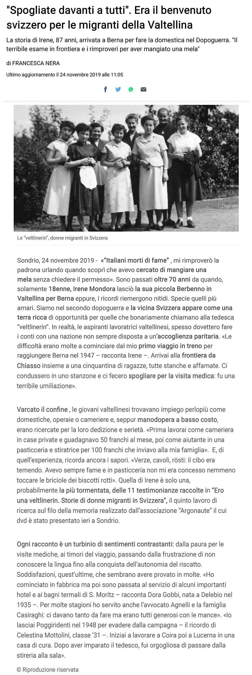 """2019-11-24 """"Spogliate davanti a tutti"""". Era il benvenuto svizzero per le migranti della Valtellina"""