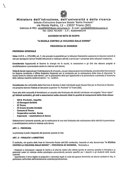 Accordo di rete Dicembre 2019 - Agosto 2021