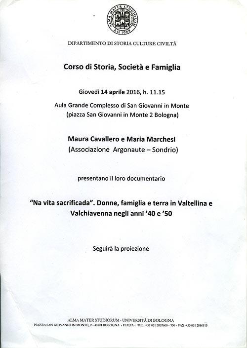 Presentazione DVD al Corso di Storia, Società e Famiglia